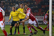 Middlesbrough forward Jordan Rhodes (9)  market tightly by Rotherham United defender Joe Mattock (3)  during the Sky Bet Championship match between Rotherham United and Middlesbrough at the New York Stadium, Rotherham, England on 8 March 2016. Photo by Simon Davies.