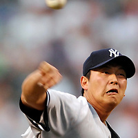 28 June 2007:  New York Yankees pitcher Chien-Ming Wang (40) in action against the Baltimore Orioles.  The game was suspended in the eighth inning due to rain with the Yankees leading 8-6 at Camden Yards in Baltimore, MD.   ****For Editorial Use Only****
