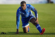 Darius Osei of Oldham Athletic warms up before the EFL Sky Bet League 1 match between Oldham Athletic and Northampton Town at Boundary Park, Oldham, England on 16 August 2016. Photo by Simon Brady.