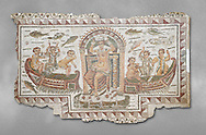 Late 4th century AD Roman mosaic panel of  Venus, Aphrodite, on a boat crowning herself accompanied by six dwarfs. From Cathage, Tunisia.  The Bardo Museum, Tunis, Tunisia. Grey background .<br /> <br /> If you prefer to buy from our ALAMY PHOTO LIBRARY  Collection visit : https://www.alamy.com/portfolio/paul-williams-funkystock/roman-mosaic.html - Type -   Bardo    - into the LOWER SEARCH WITHIN GALLERY box. Refine search by adding background colour, place, museum etc<br /> <br /> Visit our ROMAN MOSAIC PHOTO COLLECTIONS for more photos to download  as wall art prints https://funkystock.photoshelter.com/gallery-collection/Roman-Mosaics-Art-Pictures-Images/C0000LcfNel7FpLI