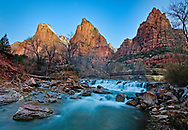 A cool morning mist rises above the virgin river in Zion before first light hit the Patriarchs.