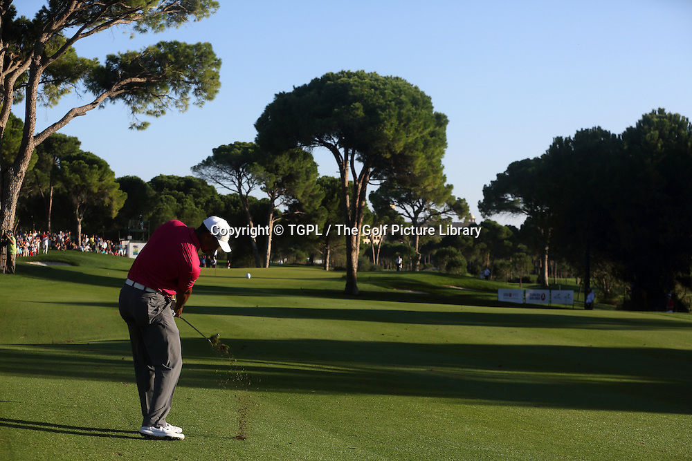 Tiger WOODS (USA) 2nd shot to 17th par 4 during third round Turkish Airlines Open by Ministry of Culture and Tourism 2013,Montgomerie Course at Maxx Royal,Belek,Antalya,Turkey.