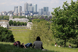 © Licensed to London News Pictures. 19/05/2014<br /> Sunny weather today 19/05/2014<br /> People relaxing and enjoying the hot and sunny day in Greenwich Park,Greenwich,London.<br /> Photo credit :Grant Falvey/LNP