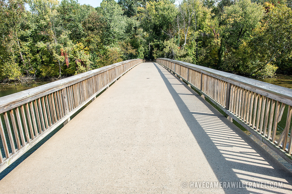 The pedestrian bridge connecting the George Washington Parkway in Arlington with Theodore Roosevelt Island, looking towards Roosevelt Island.