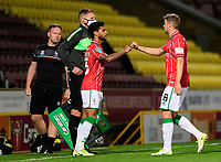 Lincoln City's Liam Bridcutt, left, replaces James Jones<br /> <br /> Photographer Chris Vaughan/CameraSport<br /> <br /> Carabao Cup Second Round Northern Section - Bradford City v Lincoln City - Tuesday 15th September 2020 - Valley Parade - Bradford<br />  <br /> World Copyright © 2020 CameraSport. All rights reserved. 43 Linden Ave. Countesthorpe. Leicester. England. LE8 5PG - Tel: +44 (0) 116 277 4147 - admin@camerasport.com - www.camerasport.com