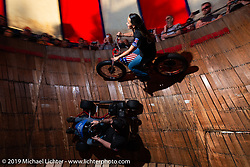 Sandra Donmoyer of the California Hellriders rides the Wall of Death at the Iron Horse Saloon during Daytona Bike Week. Ormond Beach, FL. USA. Monday March 12, 2018. Photography ©2018 Michael Lichter.