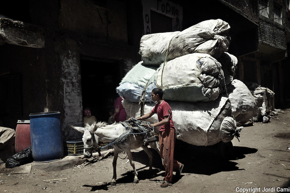 """Young  """"Zabbaleen"""" collector back to Mokattam with his carriage loaded with bags of rubbish from the center of Cairo. The quarry was originally located where the settlement of Mokattam, is now used for storage of paper and aluminum.On the outskirts of Cairo in the middle of Manshiet Nasr neighborhood is located Mokattam settlement known as """"Garbage City"""" is inhabited by Zabbaleen, a community of about 45,000 Coptic Christians living for decades to recycle waste generated by the Egyptian capital: plastic, aluminum, paper and organic waste transformed into compost. Most part of the Association for the Protection of the Environment (APE), an NGO that works in the area, whose objectives are to protect the environment and improve the livelihoods of garbage scavengers in Cairo. According to the UN, the work is done in Mokattam is one of the ten best examples of world environmental improvement. El Cairo , Egypt, June 2011. ( Photo by  Jordi Camí )."""