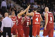 DESCRIZIONE : Ancona Lega A 2012-13 Sutor Montegranaro Trenkwalder Reggio Emilia<br /> GIOCATORE : esultanza<br /> CATEGORIA : esultanza team<br /> SQUADRA : Trenkwalder Reggio Emilia<br /> EVENTO : Campionato Lega A 2012-2013 <br /> GARA : Sutor Montegranaro Trenkwalder Reggio Emilia<br /> DATA : 11/11/2012<br /> SPORT : Pallacanestro <br /> AUTORE : Agenzia Ciamillo-Castoria/C.De Massis<br /> Galleria : Lega Basket A 2012-2013  <br /> Fotonotizia : Ancona Lega A 2012-13 Sutor Montegranaro Trenkwalder Reggio Emilia<br /> Predefinita :
