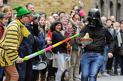 © Licensed to London News Pictures. 28/02/2017. London, UK. People take part in the annual Great Spitalfields Pancake Race on Shrove Tuesday at the Old Truman Brewery, raising money for charity and having a lot of fun along the way. Photo credit : Stephen Chung/LNP
