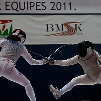 Italy's Ilaria Salvatori (R) fights with Russia's Aida Shanaeva during the team final of Women's Foil World Cup tournament in Budapest, Hungary on March 27, 2011. Italy beat Russia 45-36 in the final and claimed the title of the event. ATTILA VOLGYI