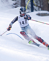 J2 skier Kyle Heffrin from Sunapee charges through the slalom course at Blackwater Ski Area on Saturday.  (Karen Bobotas Photographer)