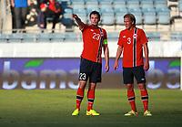 Norway v United Arab Emirates<br /> International Friendly, Viking Stadium, Stavanger, Norway.<br /> 27.08.2014<br /> Foto. Simon Rogers, Digitalsport.<br /> <br /> Norway.  Vegard Forren, Per Egil Flo.<br /> UAE.