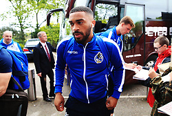 Tareiq Holmes-Dennis of Bristol Rovers arrives at Highbury Stadium - Mandatory by-line: Matt McNulty/JMP - 27/04/2019 - FOOTBALL - Highbury Stadium - Fleetwood, England - Fleetwood Town v Bristol Rovers - Sky Bet League One
