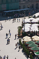 People walking on the Market Square in Krakow Poland
