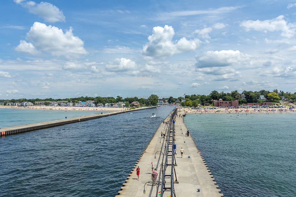 The view from atop of South Haven's lighthouse, featuring the beaches and the downtown in the distance
