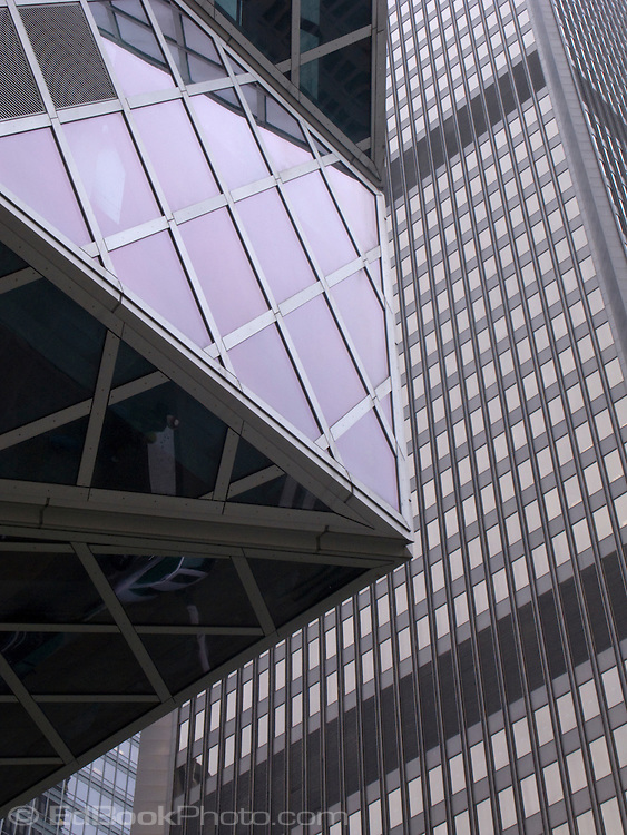 Seattle Public Library against the grid of a skyscraper in downtown Seattle, Washington, USA