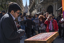 March 26, 2019 - Barcelona, Catalonia, Spain - Gerardo Pisarello, city councilor is seen reading the text of the memorial..Organized by the Ateneo Memoría Popular, a plaque has been placed in memory of the repression suffered by the political police of General Franco in the premises of the police station of the National Police in Vía Laietana. The act, which has had the participation of the City of Barcelona, claims the cession of the building of the police station for a future museum space of memory. (Credit Image: © Paco Freire/SOPA Images via ZUMA Wire)