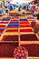 Gyumri , Armenia - August 15, 2019 : Dogwood berries Cornelian Cherries stall and other fruits and groceries at Myakowski street market