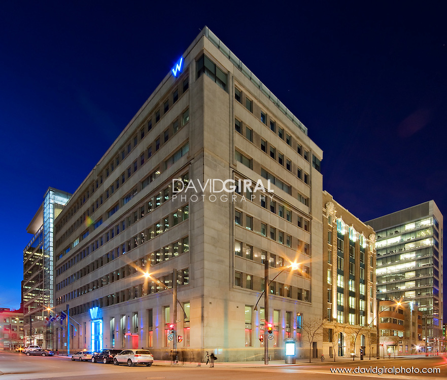 Architecture Photography: Blue Hour on Hotel W, Square Victoria, Old Montreal, Quebec, Canada