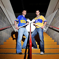 7 July 2008; Tipperary captain Paul Ormond, left, and Clare captain Brian O'Connell at a press conference ahead of the Munster GAA Senior Hurling Final on Sunday next. Gaelic Grounds, Limerick. Picture credit: Brendan Moran / SPORTSFILE *** NO REPRODUCTION FEE ***
