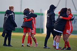 ZENICA, BOSNIA AND HERZEGOVINA - Tuesday, November 28, 2017: Wales' Kayleigh Green and Jessica Fishlock celebrate after the 1-0 victory over Bosnia and Herzegovina during the FIFA Women's World Cup 2019 Qualifying Round Group 1 match between Bosnia and Herzegovina and Wales at the FF BH Football Training Centre. (Pic by David Rawcliffe/Propaganda)