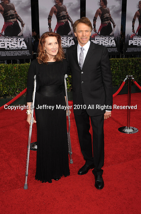 """HOLLYWOOD, CA. - May 17: Jerry Bruckheimer and wife Linda Bruckheimer arrive at the """"Prince of Persia: The Sands of Time"""" Los Angeles Premiere held at Grauman's Chinese Theatre on May 17, 2010 in Hollywood, California."""
