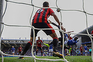 Oumar Niasse of Everton  tries an overhead kick  at goal but sees his effort saved on the line by Andrew Surman of Bournemouth. Premier league match, Everton vs Bournemouth at Goodison Park in Liverpool, Merseyside on Saturday 23rd September 2017.<br /> pic by Chris Stading, Andrew Orchard sports photography.