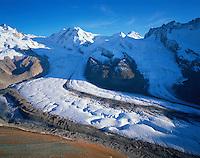 Mission Matterhorn, View from Gornergrat to Liskamm and Breithorn, Boarderglacier and Schwärzeglacier, Matterhorn, Switzerland