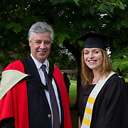 """25.08.2016          <br />  Faculty of Business, Kemmy Business School graduations at the University of Limerick today. <br /> <br /> Attending the conferring was Higher Certificate in Supervisory and Human Resources Practice graduate, Fiona Steed and Dr. Philip O'Regan, Dean Kemmy Business School. Picture: Alan Place.<br /> <br /> <br /> As the University of Limerick commences four days of conferring ceremonies which will see 2568 students graduate, including 50 PhD graduates, UL President, Professor Don Barry highlighted the continued demand for UL graduates by employers; """"Traditionally UL's Graduate Employment figures trend well above the national average. Despite the challenging environment, UL's graduate employment rate for 2015 primary degree-holders is now 14% higher than the HEA's most recently-available national average figure which is 58% for 2014"""". The survey of UL's 2015 graduates showed that 92% are either employed or pursuing further study."""" Picture: Alan Place"""
