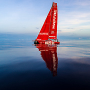 Leg 4, Melbourne to Hong Kong, day 08 on board MAPFRE, Sunset without wind, fliying low. Photo by Ugo Fonolla/Volvo Ocean Race. 09 January, 2018.