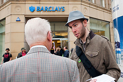 Members of UK UNCUT protest in Sheffield by occupying Vodafone Shop, Barclay's Bank and Dorothy Perkins Branches in support of the June 30 Public Sector strikes <br /> 30th June 2011<br /> Copyright Paul David Drabble