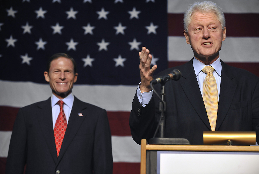 Former President Bill Clinton, right, speaks during an event for Democratic U.S. Senate candidate Richard Blumenthal, left, in New Haven, Conn., on Sunday, Sept. 26, 2010.  (AP Photo/Jessica Hill)