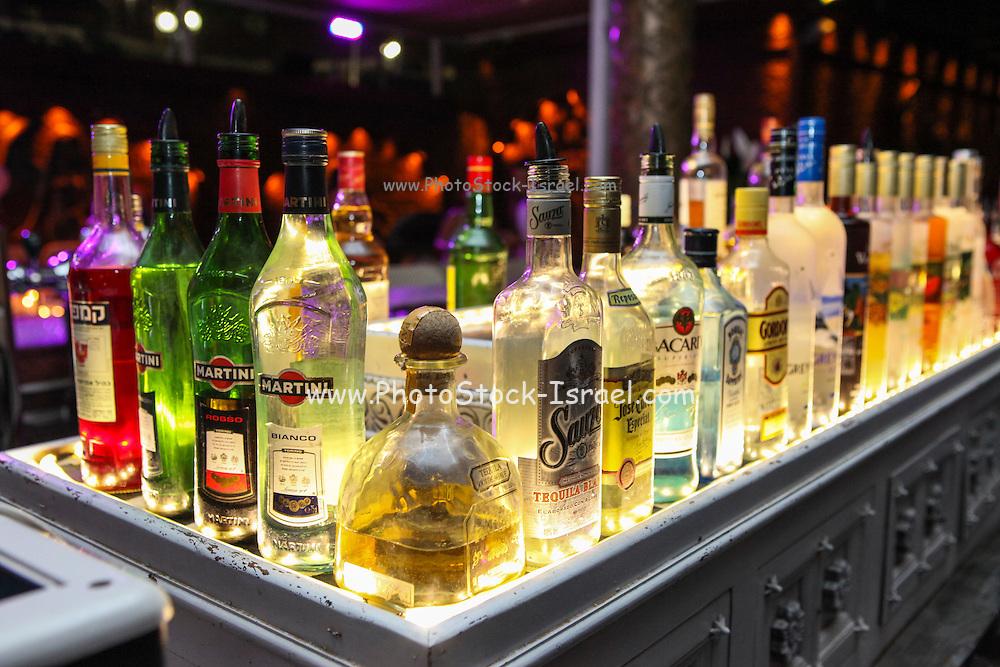 Back lit alcohol bottles