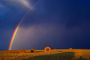 bales and rrainbow with storm clouds<br />Cypress River<br />Manitoba<br />Canada