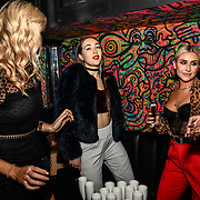 Lilly Douse, Chloe Adlerstein, Frankie Maddin attend Bachelor girls wrap party after Channel 5 serial of The Bachelor girls 2019 UK  17 desperate female complete to win Alex Marks. Five Eliminated girls continues enjoy the single life party at Balle Ballerson in fact, in the UK there are 1.1 millions female more than male on 27 March 2019, London, UK.