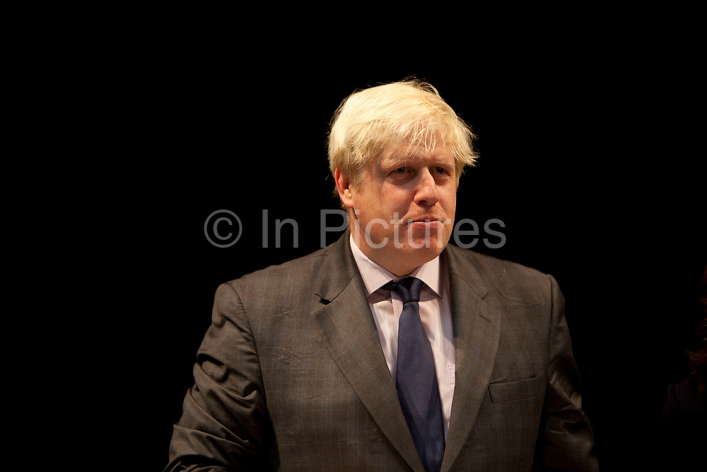 London, UK. Friday 19th October 2012. The Mayor of London, Boris Johnson gives a speech at Pimlico Academy secondary school as he unveils ambitious plans to make London a world leader in education. The announcement coincides with the publication of the final report from the Mayor's Education Inquiry, which the Mayor commissioned to look at the challenges facing London's schools.