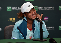 March 7, 2019 - Indian Wells, California, U.S. - WTA tennis player NAOMI OSAKA (JPN) talks with the media at the Indian Wells Tennis Garden. (Credit Image: © John Cordes/Icon SMI via ZUMA Press)
