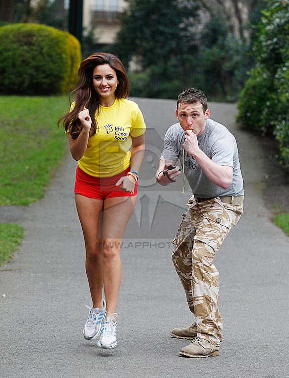 Repro Free: 28/02/2013 .Model Nadia Forde is put through her paces by 'The Real Bootcamp's' Eoghan Barry, as he prepares her to join team 'Irish Cancer Society' for this year's Flora Women's Mini-Marathon in Dublin on June 3rd. .The Society is appealing to all women to come together with their friends, families and colleagues and run, jog or walk this year for team Irish Cancer Society..To register for a fundraising pack, CallSave 1850 60 60 60, visit www.cancer.ie   or email fundraising@irishcancer.ie  ..