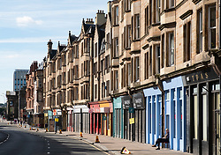 View of row of tenement buildings on Saltmarket in East End of Glasgow, Scotland, UK