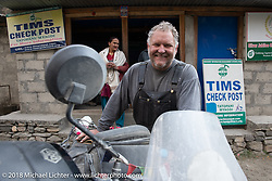 Kelly Modlin at the check point as we were leaving Tatopani on Day-7 of our Himalayan Heroes adventure riding from Tatopani to Pokhara, Nepal. Monday, November 12, 2018. Photography ©2018 Michael Lichter.