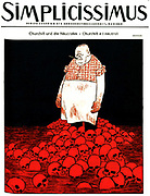 Cover of German magazine Simplicissimus (circa ) depicts Churchill and a river of blood and skulls. Circa 1940
