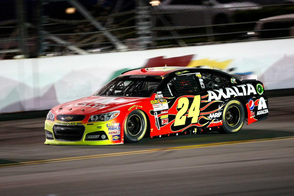 Jul 6, 2013; Daytona Beach, FL, USA; NASCAR Sprint Cup Series driver Jeff Gordon (24) during the Coke Zero 400 at Daytona International Speedway. Mandatory Credit: Douglas Jones-DDJ Sports Imaging