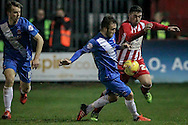 Adam Buxton (Accrington Stanley) tries to get around the Hartlepool defender during the Sky Bet League 2 match between Accrington Stanley and Hartlepool United at the Fraser Eagle Stadium, Accrington, England on 19 January 2016. Photo by Mark P Doherty.