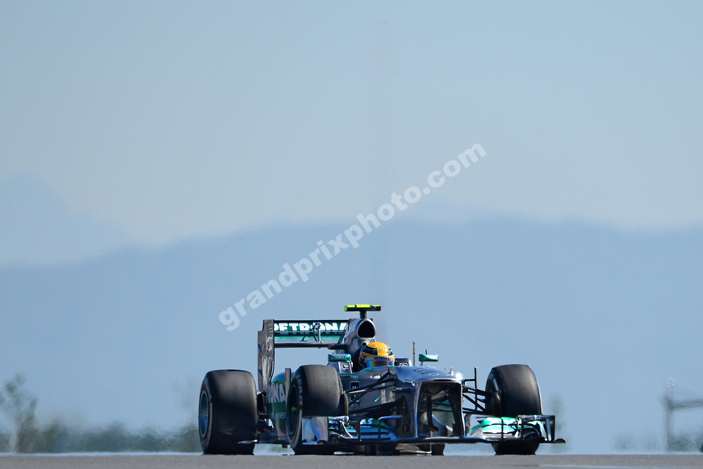 Lewis Hamilton (Mercedes) during practice for the 2013 Korean Grand Prix in Yeongam. Photo: Grand Prix Photo