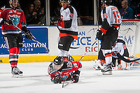 KELOWNA, CANADA - NOVEMBER 5: Kole Lind #16 of the Kelowna Rockets falls to the ice against the Medicine Hat Tigers on November 5, 2016 at Prospera Place in Kelowna, British Columbia, Canada.  (Photo by Marissa Baecker/Shoot the Breeze)  *** Local Caption ***