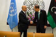 Agila Saleh Essa Gwaider, the Acting Head of State, of Libya,with United Nations Secretary General Ban Ki moon.