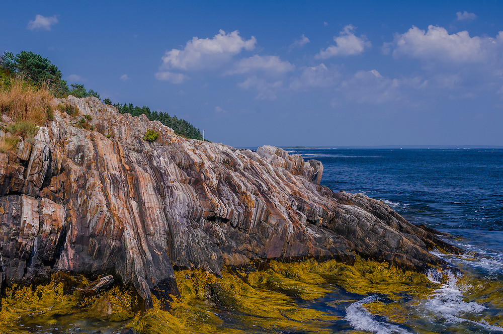 Pattern of layered bedrock on the Maine coast, with Rockweed, blue sky and clouds, Harpswell, ME