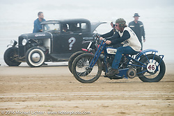 Fred Lange racing down the beach on his Harley-Davidson at TROG West - The Race of Gentlemen. Pismo Beach, CA, USA. Saturday October 15, 2016. Photography ©2016 Michael Lichter.