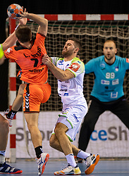 11-04-2019 NED: Netherlands - Slovenia, Almere<br /> Third match 2020 men European Championship Qualifiers in Topsportcentrum in Almere. Slovenia win 26-27 / Blaz Janc #8 of Slovenia, Luc Steins #12 of Netherlands