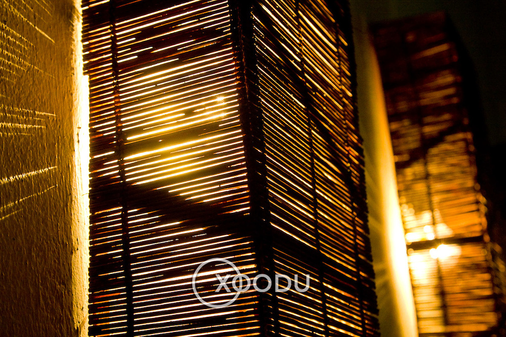 Bamboo wall light fitting (Hoi An, Vietnam - Nov. 2008) (Image ID: 081109-1447221a)